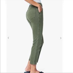 Joes Jeans army green high rise ankle kick jeans
